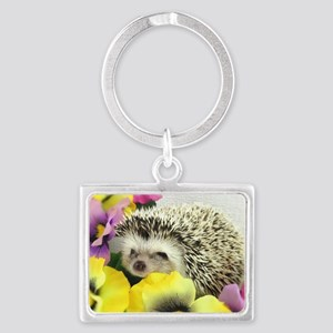 Hedgehog in flowers Landscape Keychain
